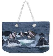 A Group Of Humpback Whales Bubble Net Weekender Tote Bag