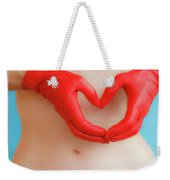 A Heart Of Red Leather Weekender Tote Bag