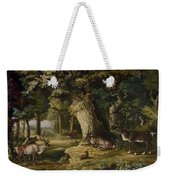 A Herd Of Stag And A Fawn In A Woodland Landscape Weekender Tote Bag