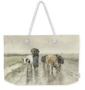 A Herdess With Cows On A Country Road In The Rain Weekender Tote Bag