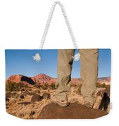 A Hiker Admires The Sunrise Light Weekender Tote Bag