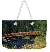 A Hiker Crosses A Bridge Weekender Tote Bag