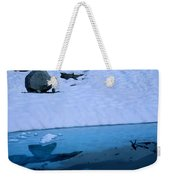 A Hiker Explores A Lake Near The Nellie Weekender Tote Bag