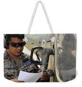 A Honduran Crew Chief Consults Weekender Tote Bag