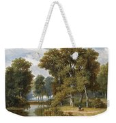 A Hunter And An Angler In A Wooded Landscape Weekender Tote Bag