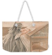 A Lady Copying At A Drawing Table Weekender Tote Bag