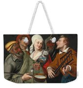 A Lady Holding A Swaddled Cat A Man With A Pan Of Porridge Another Playing With Fire Irons And Two O Weekender Tote Bag