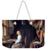 A Lady Playing The Clavichord Weekender Tote Bag