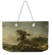 A Landscape With A Farm On The Bank Of A River Weekender Tote Bag