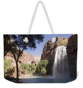 A Large Waterfall Hydrates A Narrow Weekender Tote Bag