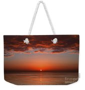 A Layer Of Clouds Is Lit By The Rising Weekender Tote Bag