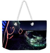 A Light Painted Scene Of A Rusty Caddy By A Barn And Cornfield Weekender Tote Bag