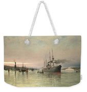 A Liner And Other Shipping Before The Statue Of Liberty Weekender Tote Bag