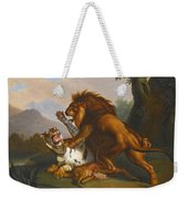 A Lion And Tiger In Combat Weekender Tote Bag