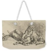 A Lioness Mauling The Chest Of An Arab Weekender Tote Bag
