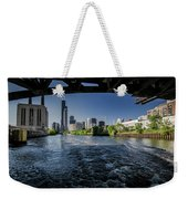 A Look At The Chicago Skyline From Under The Roosevelt Road Bridge  Weekender Tote Bag