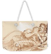 A Maiden Embraced By A Knight In Armor Weekender Tote Bag