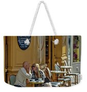A Man A Woman A French Cafe Weekender Tote Bag by Allen Sheffield