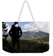 A Man Admires The View Over The Valley Weekender Tote Bag