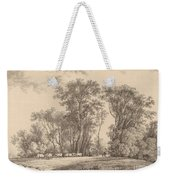 A Meadow With Cattle At The Edge Of A Wood Weekender Tote Bag