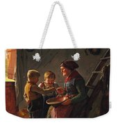 A Meal. Two Boys And A Grandmother Tasting The Potato Soup Weekender Tote Bag