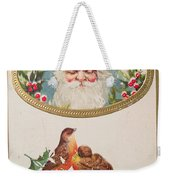 A Merry Christmas From Santa Claus Vintage Greeting Card With Robins Weekender Tote Bag