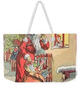 A Merry Christmas Vintage Greetings From Santa Claus And His Gifts Weekender Tote Bag
