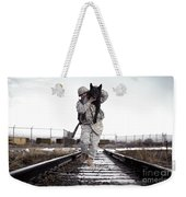 A Military Dog Handler Uses An Weekender Tote Bag by Stocktrek Images