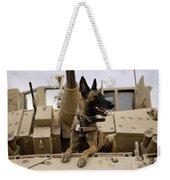 A Military Working Dog Sits On A U.s Weekender Tote Bag