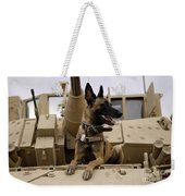 A Military Working Dog Sits On A U.s Weekender Tote Bag