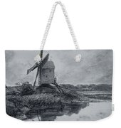 A Mill On The Banks Of The River Stour Charcoal On Paper Weekender Tote Bag