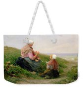 A Mother And Her Small Children Weekender Tote Bag by Edith Hume