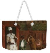 A Mother With Her Son And A Pony Weekender Tote Bag