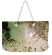 A Motor Boat Anchored In The Shallow Weekender Tote Bag