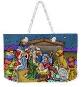 A Nativity Scene Weekender Tote Bag by Sarah Batalka
