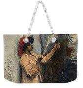 A Neapolitan Flax Spinner John William Waterhouse Weekender Tote Bag