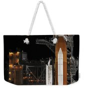 A Nearly Full Moon Sets As Space Weekender Tote Bag by Stocktrek Images