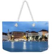 A Night View Of Split Old Town Waterfront In Croatia Weekender Tote Bag