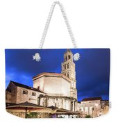 A Night View Of The Cathedral Of Saint Domnius In Split Weekender Tote Bag