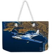 A North American P-51d Mustang Flying Weekender Tote Bag
