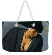 A Peasant Woman Wearing A Black Hat Leaning On A Wooden Ledge Weekender Tote Bag