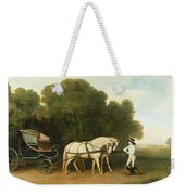 A Phaeton With A Pair Of Cream Ponies In The Charge Of A Stable-lad Weekender Tote Bag