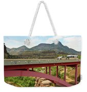 A Pickup Pulling A Travel Trailer Across The Salt River Canyon B Weekender Tote Bag