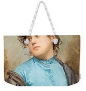 A Portrait Of A Young Woman In A Blue Dress Weekender Tote Bag