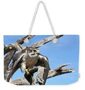A Prairie Falcon Against A Blue Sky Weekender Tote Bag
