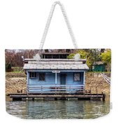 A Raft House Moored To The Shoreline Of Ada Ciganlija Islet Weekender Tote Bag