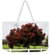 A Red Pin Under A Red Tree At Morro Bay Golf Course Weekender Tote Bag