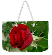 A Red Rose In The Dew Of Pearls Hours Weekender Tote Bag