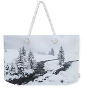 A River And Winter Landscape In Austria Weekender Tote Bag