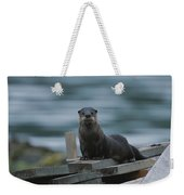 A River Otter Perched On Planks Of Wood Weekender Tote Bag